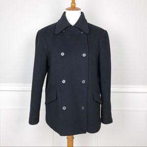 J. CREW Small Black double breasted wool peacoat